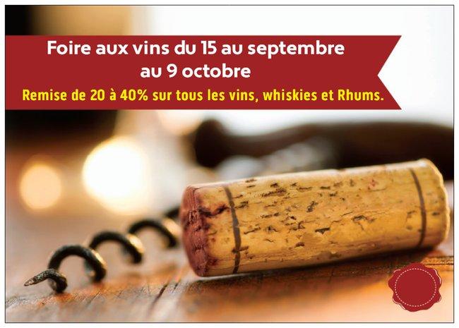 Foire aux vins du 15 septembre au 9 octobre